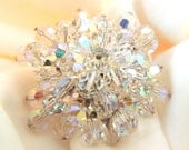 """WOW  Electrifying Crystal 2.25"""" Vintage Goldtone Brooch   Excellent Condition  Lightening Bright"""