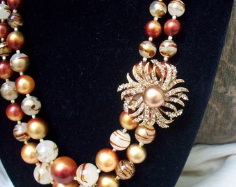 Vintage 1960's Necklace ReVamped - Great Fall Necklace And Brooch/Pendant Set -  Versatile