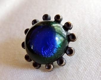 1 RARE  Beautiful Turn of the Century Bohemian Lampwork Foil Peacock Eye Glass Brass Brooch