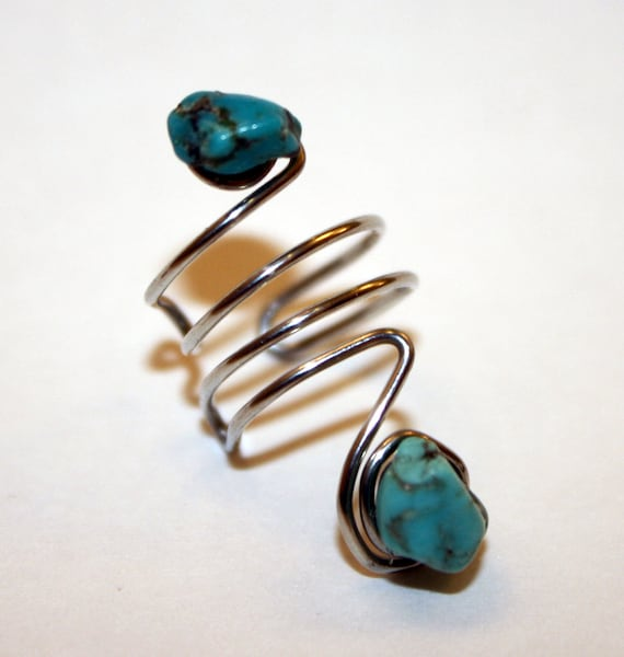 Fancy Silver and Turquoise Ear Cuff