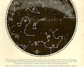 Astronomy Print bookplate STAR MAP, 1940s, Constellations, star chart, star map, astronomical star stars constellation astrology space