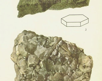 Vintage Print Rocks and Minerals 70, Molybdenite crystals quartz