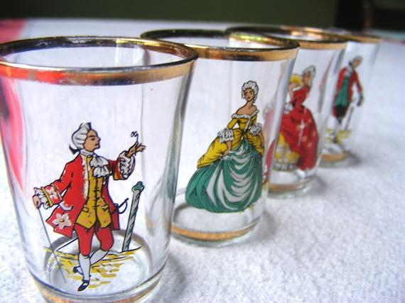 Four French vintage Shot Glasses bar glasses France glass glasses French drinking glasses