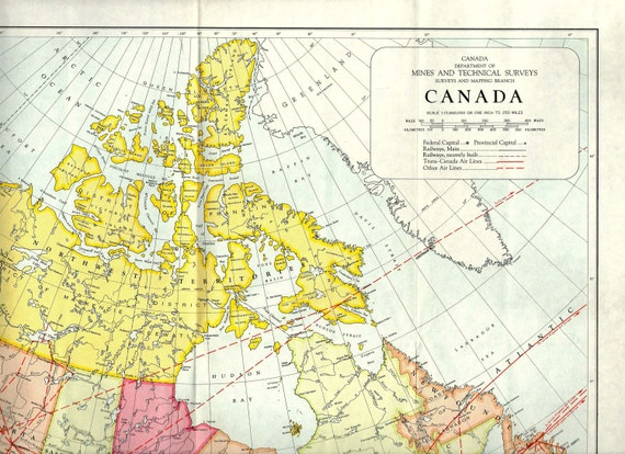 1958 LARGE Vintage map of CANADA cartography Canada maps
