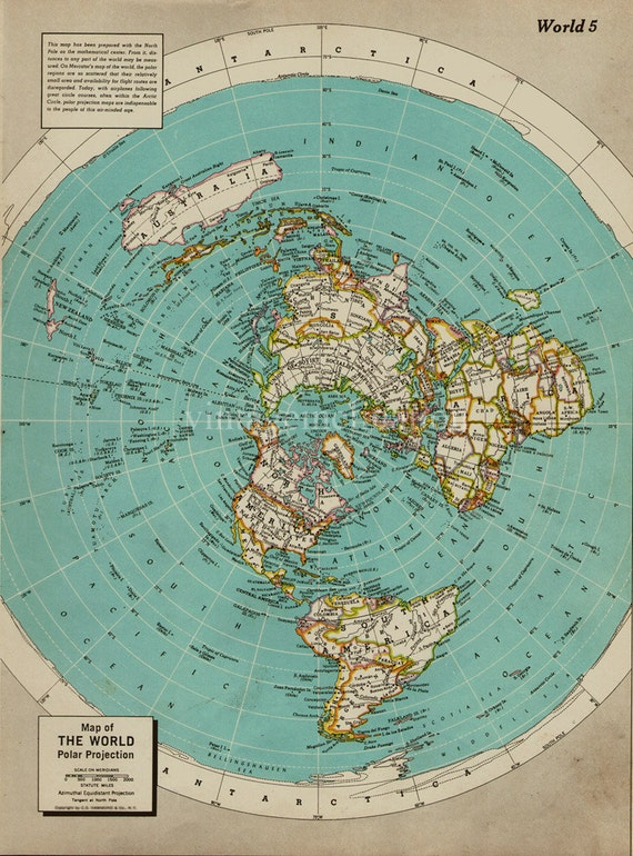 Mid Century Vintage World map world atlas map