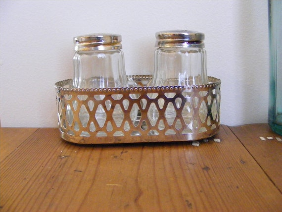 Silverplate Cut Glass Salt and Pepper shakers in Silverplate basket