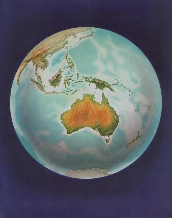 Vintage World Map Globe, 1969 SPACE earth international Australia Malaysia China astronomy atlas map