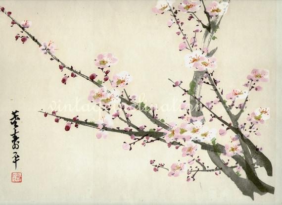 Antique Asian print LARGE quality Blossoms art print, vintage painting flowers art print, pink flower blossoms wall print wall art