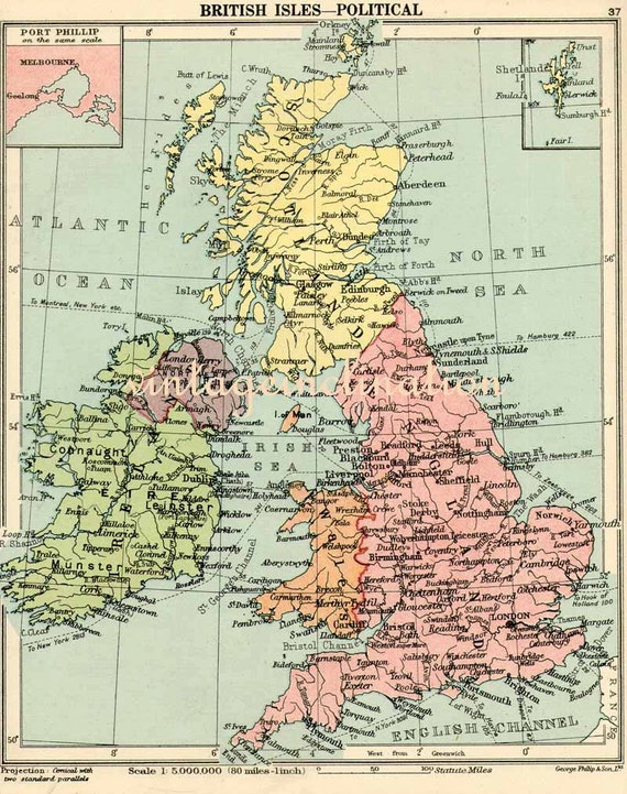 Vintage Maps, England and Wales mid century map UK United Kingdom Great Britain map