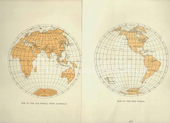 Vintage World Maps, New World, Old World, 1940s originals