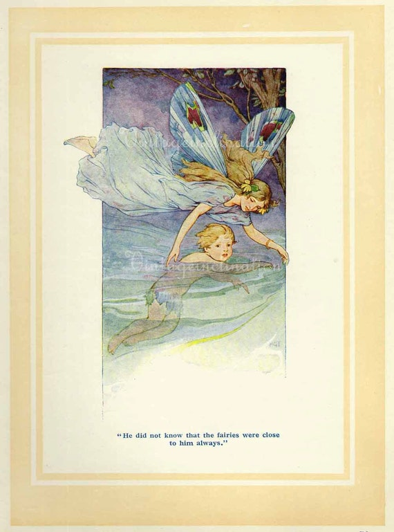 Antique Art Print FAIRY 1910s, The Fairies Were Close To Him Always,100 years old children fairy babies pink