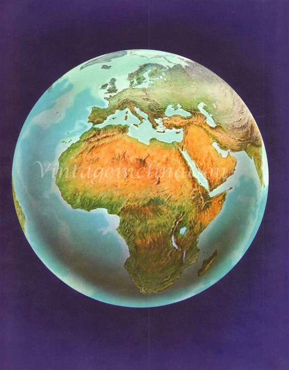 Vintage World Map Globe, 1960s SPACE earth international Africa Europe Middle East astronomy atlas map