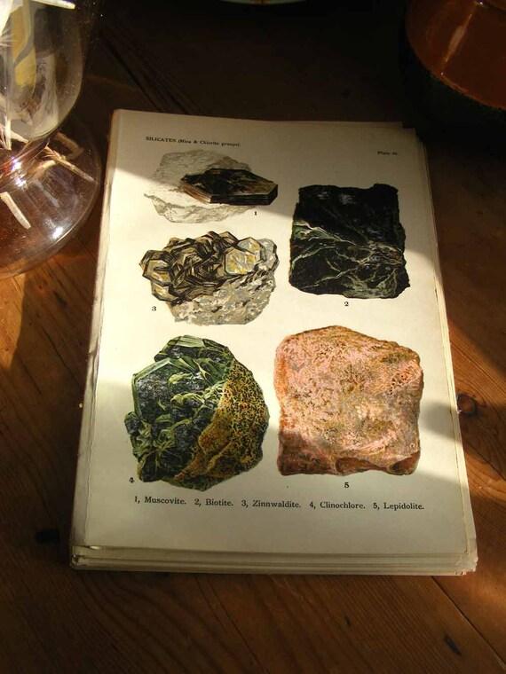 CHROMOLITHOGRAPH-1911 Antique Vintage Art Print - Beautiful Minerals- Muscovite Vintage Art -Precious Stones-Edwardian Victorian Picture-