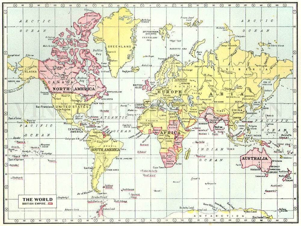 1930 Vintage Map of the World British Empire