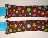 SALE Catnip Cat Toys - Set of 2 Kicksticks - Colorful Owls on Brown Fabric