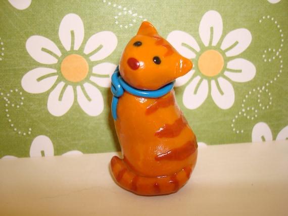 Orange Tabby Polymer Clay Cat Figure Figurine with Blue Bow