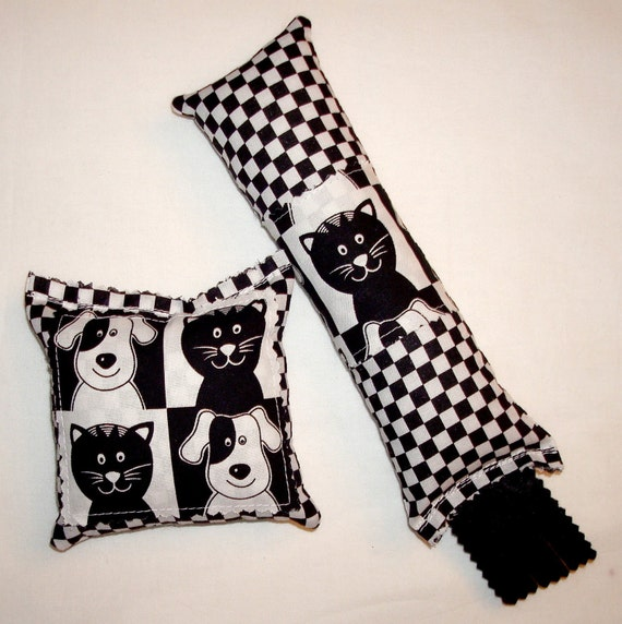 SALE Catnip Cat Toys - Kickstick & Pillow Set - Black and White Checkerboard with Cats and Dogs