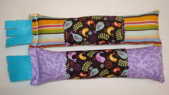 SALE Catnip Cat Toys - Set of 2 Kicksticks - Colorful Stripe & Lavender with Birds