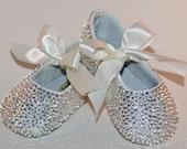Baby Rhinestone Shoes Swarovski Crystal Baby Shoes Baby Wedding Shoes Baby Christening Shoes Baby Shoes Leather Shoes