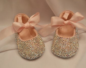 Pink Baby Rhinestone Shoes Swarovski Crystal leather shoe wedding shoes flower girl