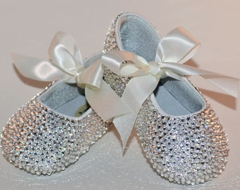 baby rhinestone shoes swarovski crystal baby shoes baby wedding shoes baby christening shoes baby shoes leather