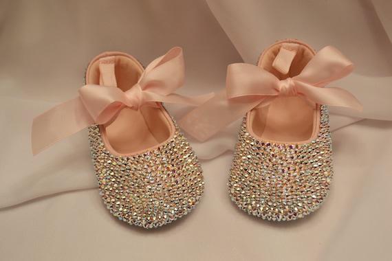Pink Baby Rhinestone Shoes Swarovski Crystal leather shoe