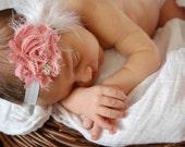 Baby Headband..Baby Girl Headband...Newborn Headband... Shabby chic frayed chiffon flower with feathers on white headband