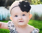 Baby Girl Headbands.. Baby Headband..Infant Headband...Black silk flower baby headband