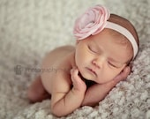 Baby Girl Headband..Baby Headband...pink ranunculus flower on soft matching stretch headband - all sizes