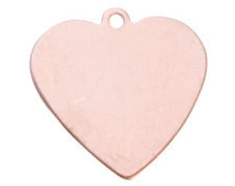COPPER HEART with Ring - Five Eights Inch 18 gauge - Pack of 6 - Stamp - Forge - Hammer to Make Your Own Charms - Earrings - Dog Tags
