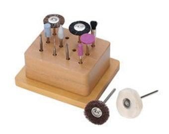 Metal FINISHING TOOLS Kit 12 piece for Polishing Metal - Silver - Copper - Metal Clay etc. Metal Working Jewelry Tool