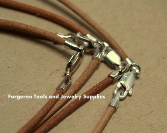 Natural Leather Necklace 18 Inch 1.5mm With Sterling Silver Lobster Claw Clasp - One Necklace