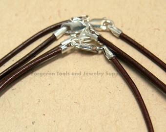 Brown Leather Bracelet 7 Inch 1.5mm With Sterling Silver Lobster Claw Clasp - One Bracelet