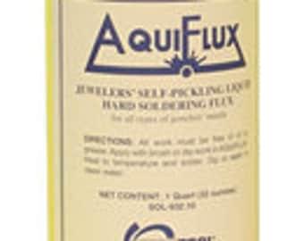 AQUIFLUX Jewelers Self Pickling Liquid Hard SOLDERING FLUX for all types of jewelry metals 32 oz