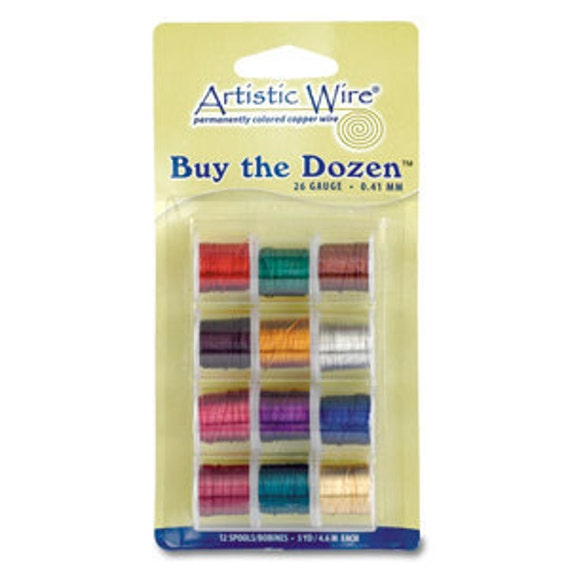 ARTISTIC WIRE Buy the Dozen 22 Gauge 12 package of Designing Wire for WigJig- Wrapping-Coiling and Jewelry Making
