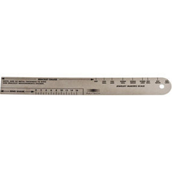 JEWELERS SCALE 6 inch Bracelet and Ring GAUGE to Calculate Ring Shank Size and Bracelet Size Before Cutting Your Metal - Jewelry Tool