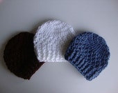 Baby Hat Set, 3 Baby Crochet Hats in Brown, White, and Blue, Baby Beanies, Newborn Hats, Photo Props