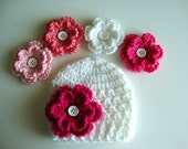 Crochet Baby Hat/Beanie in White with 4 Flower Options - Choose from 23 Flowers - Also In Newborn and Toddler Sizes