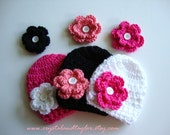 Newborn or Baby Hat Set - 3 Crochet Hats/Beanies with Your Choice of 6 Flowers, Photo Props, Baby Crochet Hat, Girl Hat