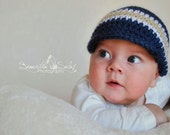 Baby Boy Newsboy Crochet Hat in Navy Blue, White, and Light Brown - Perfect for Photos - Made to Order