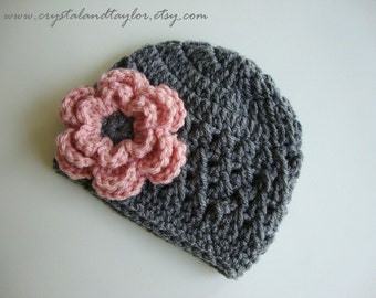Newborn Hat, Baby Girl Hat, Girl Crochet Beanie/Hat in Gray and Light Pink - Perfect for Photos - Newborn and Baby Sizes