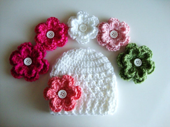 Baby Hat in White with 5 Different Flower Options, Choose from 23 Colors, Newborn Hat, Crochet Hat