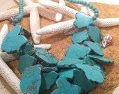 Freeform Chunky Turquoise Slab Necklace