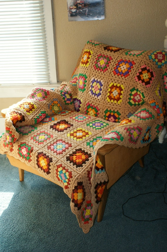 vintage granny square afghan tan background with muticolored squares wool throw 3'x5'