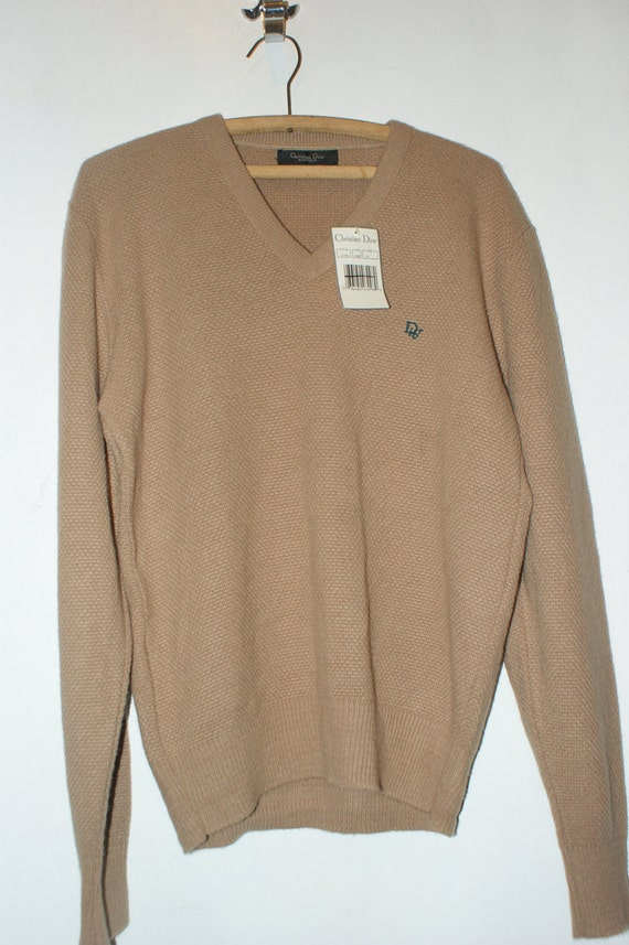 BlueFrogVintage NWT Christian Dior Monsieur Tan V-Neck Sweater Medium