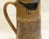 ceramic black bird coffee mug 20oz stoneware 20A071