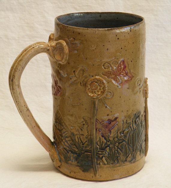 ceramic garden coffee mug 16oz stoneware 16A069
