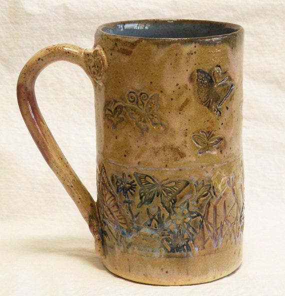 ceramic butterfly coffee mug 16oz stoneware 16B008