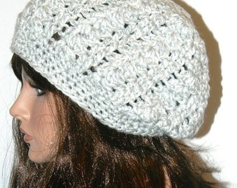 Slouchy Beanie/Beret/Tam Gray and White -Starstruck