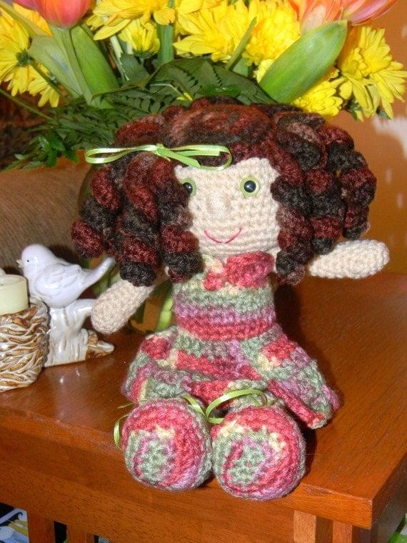 Handmade Crochet Doll Brunette--Gemma
